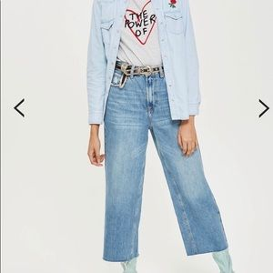 MOTO WIDE LEG CROPPED JEANS (TOPSHOP)